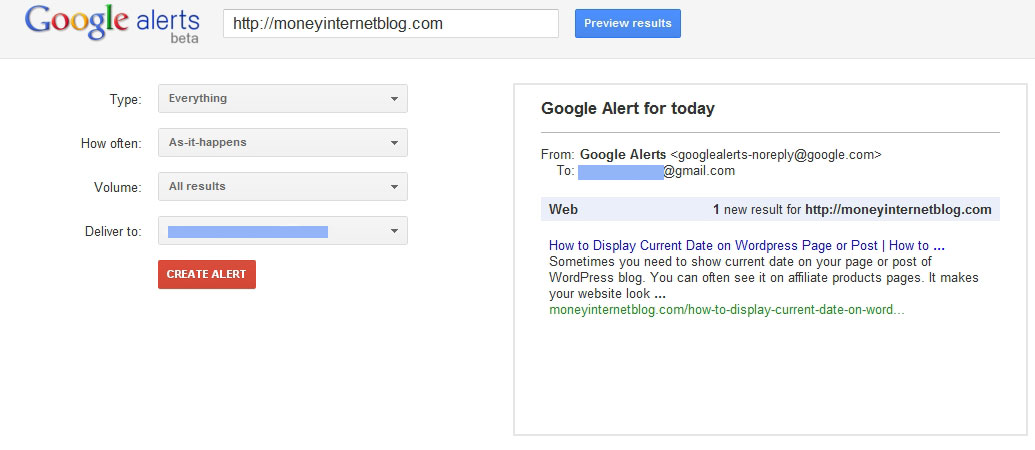 Google Alert to Check Indexed Pages