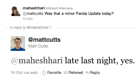 Matt Cutts Tweet about Google Panda Update